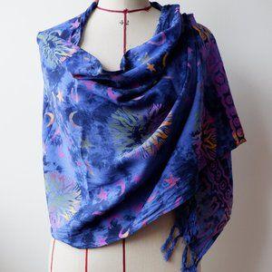 Large Fringed Boho Tie-Dye & Batik Scarf